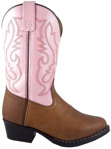 childrens pink brown western boots
