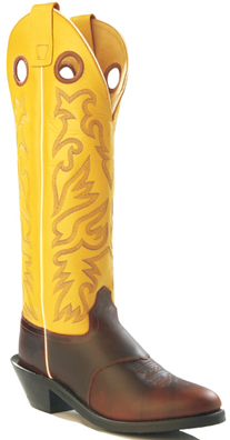 Old West Mens Leather Buckaroo Cowboy Boots