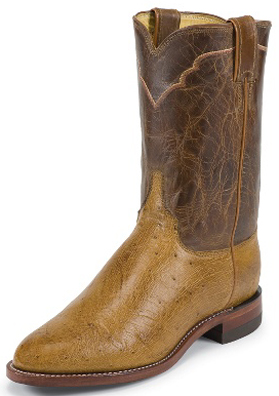 Justin Smooth Ostrich Mens Roper Boots 3291 Ropers