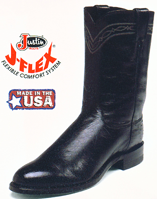 Justin Smooth Ostrich Mens Roper Boots 3172 Ropers