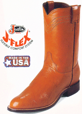 Justin Smooth Ostrich Mens Roper Boots 3021 Ropers