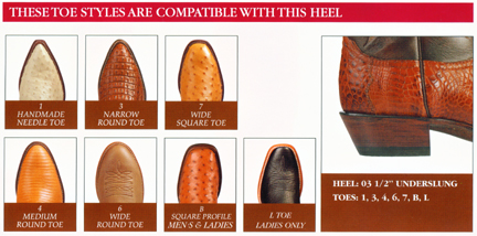 Nocona Boot Toe and Heel Charts