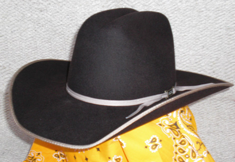 b5383c0db66 Brown binding and 2 cord hat band on Brown colored wool felt hat.