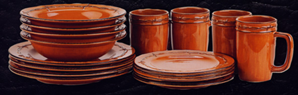 70868 - Rustic Ranch Dinnerware Set & Montana Silversmiths Kitchen Decor